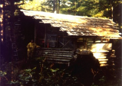 Six sided cabin near old Dyke site at Cape Scott. The cabin was built by a painter from Rayonier and his Japanese wife