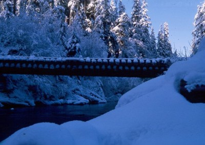 Snow covered pumphouse bridge on the way to the Domestic site - December 1964