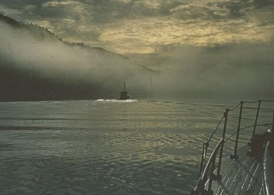 View from Nimpkish II of fishing boat in partial fog - June 1970